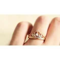 Free Shipping Crown Shape Rhinestone Inlaid Ring ($5.99)