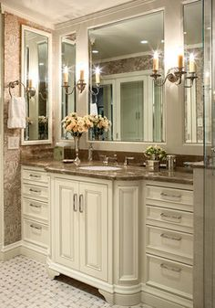 Nob Hill Highrise - traditional - bathroom - san francisco - Tres McKinney Design sink deeper than side cabinets