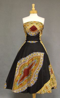 FANTASTIC Ethnic Print Convertible Halter Sun Dress VINTAGEOUS VINTAGE CLOTHING