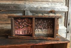 Hand Engraved Wood, Primitive Art, Rustic Home Decor, Shelf Decor, Mantle, Trees, Forest, Brown Yellow, Pink, Leaves, Wood Box, Wall Art