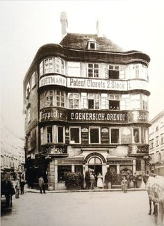 Vienna, Regensburger Hof, Lugeck before the demolition the House was built in the century Vintage Photography, Street Photography, Scenery Pictures, Funny Pictures, Austro Hungarian, 15th Century, World Cultures, Time Travel, Hungary