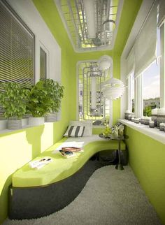 Go all out with modern apartment balcony design. This bright looking décor uses a lemon green color theme coupled with white accents. The artistically shaped bench slash bed makes a great addition to the already stunning interior balcony décor.