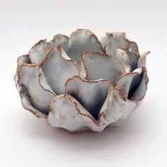 Ceramic Flower, White Flower Vase or Candle Holder, Organic Design, Handmade Ceramic Art, Ceramic Decor, Home Decor by NessyCeramics on Etsy