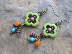Green Soutwestern Earrings by brendalou2 on Etsy, $12.00