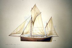 Drawing of Manx lugger