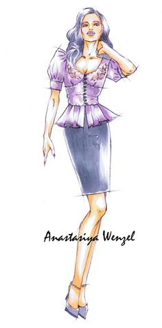 "Fashion illustration by Anastasiya Wenzel for Fashion Magazine ""Damen Rundschau"""