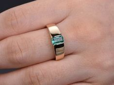 18K yellow gold emerald engagement ringwide band by rststudio