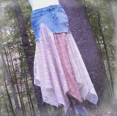 Denim and Lace Gypsy Skirt by GallimaufryClothing, $68.00