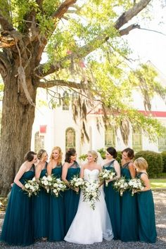 dark teal bridesmaid dresses - photo by Courtney Dox Photography