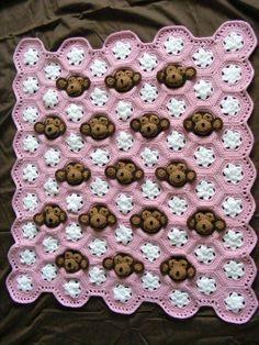 Cute Crochet Monkey Blanket for Baby #diy #craft #crochet