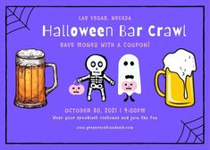 Have fun this Halloween season with a Halloween bar crawl in Las Vegas, Nevada! You'll love the great bar crawl by Crawl With Us. It includes 2 free drinks, exclusive drink & food specials, photos by professional photographers & more. There are lots of great venues on the crawl, and it ends with an after-party at Inspire Nightclub with a special guest DJ. Find out how to get a coupon to save money on this Halloween event. Ideas for things to do in Las Vegas. #LasVegas #BarCrawl #Halloween Las Vegas Restaurants, Las Vegas Hotels, Las Vegas Nevada, Las Vegas Coupons, Spooky Costumes, Las Vegas Vacation, Halloween Season, Special Guest, Night Club