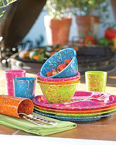 """Confetti"" Melamine Dinnerware. Celebrate the joys of dining alfresco with unbreakable, recylcled melamine dinnerware from Zak designs®. Each four-piece set includes one of each color shown. Dishwasher safe."