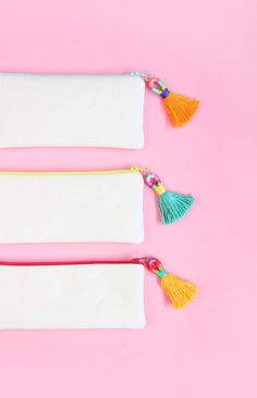 Easy tassles for pencil case zip openings. Also a pendant or bookmark idea!