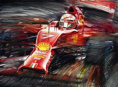 KIMI RÄIKKÖNEN ON FERRARI F14T, FORMULA 1 WORLD CHAMPIONSHIP 2014 - Oil Painting on canvas by Andrea Del Pesco, Size cm. 40x30