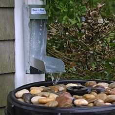 Save the Rain Water Metal Diverter - 2 x 3 or 3 x 4 - Rain Barrel Equipment at Hayneedle Keeps your rain barrel from overflowing Water Collection System, Rain Collection, Rain Garden, Water Garden, Rain Diverter, Rain Barrel System, Rainwater Harvesting, Aquaponics, Backyard Landscaping
