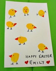 Cute craft project for your kids! Use their fingerprints to make some charming Easter chicks and bunnies! It is a great way to personalize your greeting cards for Easter!