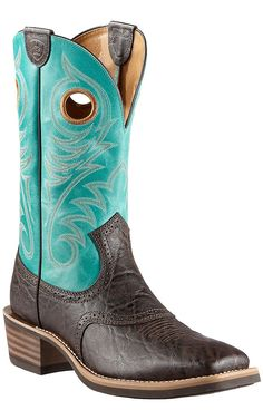 Ariat Heritage Roughstock Men's Chocolate Elephant Print w/Blue Top Saddle Vamp Square Toe Cowboy Boots