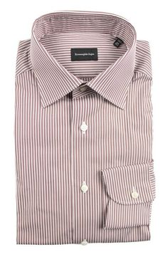 ERMENEGILDO ZEGNA White Brown Striped Cotton Dress Shirt  |  Get in there! http://www.frieschskys.com/all-shirts/dress-shirts  |  #frieschskys #mensfashion #fashion #mensstyle #style #moda #menswear #dapper #stylish #MadeInItaly #Italy #couture #highfashion #designer #shopping