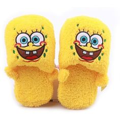 Cartoon SpongeBob SquarePants Yellow Women Men's Winter Autumn Plush... ❤ liked on Polyvore featuring men's fashion, men's shoes, men's slippers, mens slippers, mens yellow shoes, mens shoes and mens platform shoes