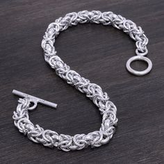 """Sterling Silver Bracelet Stamped """"925"""".   This is not a stock photo. The image is of the actual article that is being sold  Size: 8.5 inches long  Sterling silver is an alloy of silver containing 92.5% by mass of silver and 7.5% by mass of other metals, usually copper. The sterling silver standard has a minimum millesimal fineness of 925.  All my jewelry is solid sterling silver. I do not plate.   Hand crafted in Taxco, Mexico. Great for those who like Silpada or Tiffani. Will ship within 2…"""