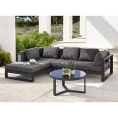 Canapé d'angle de jardin 4/5 places en aluminium noir   Maisons du Monde