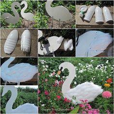 DIY Swan Garden from Plastic Bottles. See this tutorial here