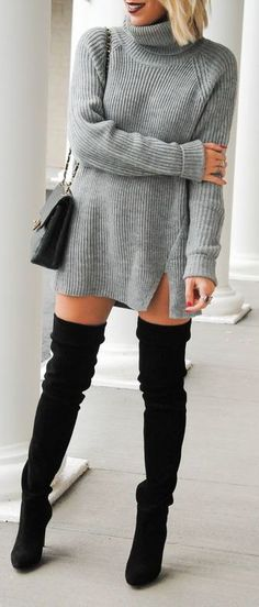 #fall #outfits / gray knit dress