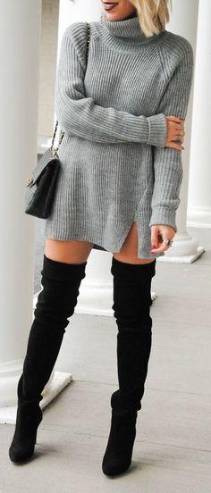 #fall #outfits / gray knit dress