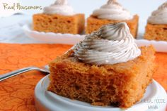 This simple & easy 3 ingredient Pumpkin Pie Angel Food Cake is topped with a creamy cinnamon cream cheese frosting.