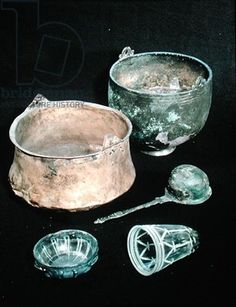 Selection of funerary goods including two cauldrons, from Sweden (copper & iron) Viking 9th century, Viking Ship Museum, Oslo, Norway