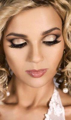 Dusty Pink & Shiny Lips + Contouring + Lashes + Gold Eyelid