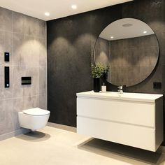 59 amazing bathroom design ideas for you to copy page 22 Bathroom Grey, Diy Bathroom, Modern Bathroom Decor, Bathroom Interior, Small Bathroom, Bathroom Lighting Inspiration, Berry Alloc, Vibeke Design, Ideas