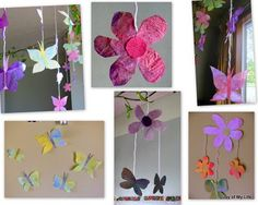 Spring cut-out paper crafts using painted recycled paper(newspaper, junk mail, etc.)