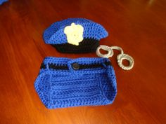 Photo Prop - Crocheted policeman's hat with diaper cover and handcuffs for infant, 3-6 mos- Ready to Ship
