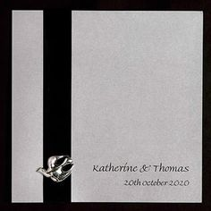 An unusual wedding invitation design featuring ribbon and a dove. www.kardella.com