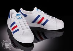 Adidas Superstar 80s – White/Blue/Red – French Edition