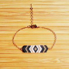 Bracelet Lima Noir plaqué or 14 carats, tissage en perles Miyuki