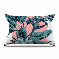 """Kess Original """"Monstera"""" Nature Pop Art Pillow Case"""