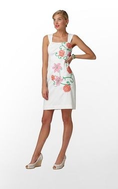 """Bree Dress"" in ""Resort White Powder Puff Embroidery Placed"" (Spring 2012) #lillywishlist"