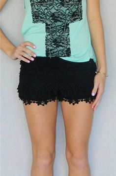 Black Crochet Shorts | Girly Girl Boutique.....Orr just make them out of black soffee shorts with lace