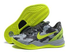 d9352f6fe38 Nike Kobe 8 System Grey Fluorescent Green Basketball Shoes For Sale No Tax