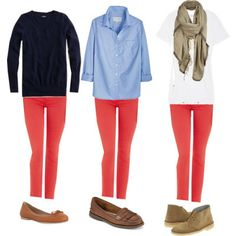 how to rock those coral jeans.