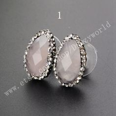 1Pair Teardrop Faceted Natural Rose Quartz Stud Earrings Paved Crystal Zircon Handmade Pink Crystal Studs Rhinestone Fashion Jewelry Posts by Druzyworld on Etsy