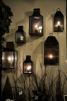 Exterior lighting wall Sconces with electric light bulbs that look like flame. Outdoor Wall Lighting, Lantern Candle Holders, Decor, Outdoor Lighting, Sconces, Candle Glow, Diy Alarm System, Exterior Lighting, Home Decor