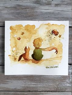 Unique Gifts . The Little Prince Fox Original Watercolor | Etsy