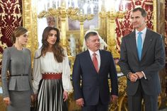 Queen Letizia of Spain, Queen Rania of Jordan, King Abdullah II of Jordan, King Felipe VI of Spain attends a lunch with Jordans Royals at Royal Palace on November 20, 2015 in Madrid