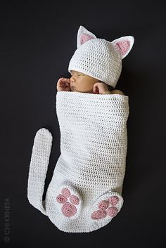 Ravelry: Cat Baby Cocoon Hat & Bootie Set by Chi Krneta