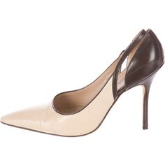 Pre-owned Manolo Blahnik Pumps (190 CAD) ❤ liked on Polyvore featuring shoes, pumps, neutrals, pointed-toe pumps, leather shoes, brown leather shoes, brown leather pumps and cut out pumps