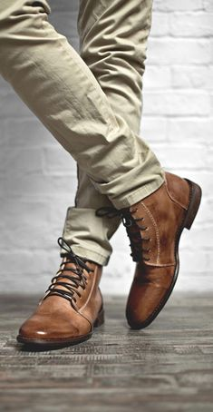 It'S all about shoes for men! tan color leather lace up boot by bedstu. style with khaki pant and a plain white tee. Men's Shoes, Shoe Boots, Dress Shoes, Mens Boots Fashion, Leather Lace Up Boots, Mens Clothing Styles, Stylish Men, Look Fashion, Fashion Rings