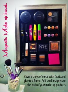 Magnetic makeup board girly home makeup. okay i really need to do this before I go back to school.